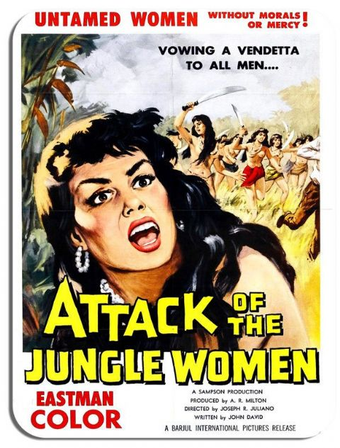 Attack of the Jungle Women Movie Poster Mouse Mat. Vintage Film Mouse pad